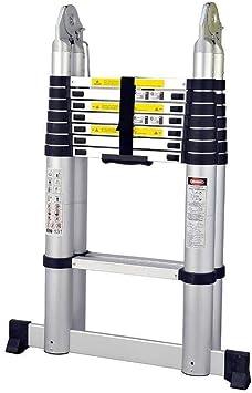 Escalera telescópica, Escaleras 5,6 M de aleación de aluminio de la aviación Ingeniería telescópica recta General Perfil espiga del hogar: Amazon.es: Bricolaje y herramientas