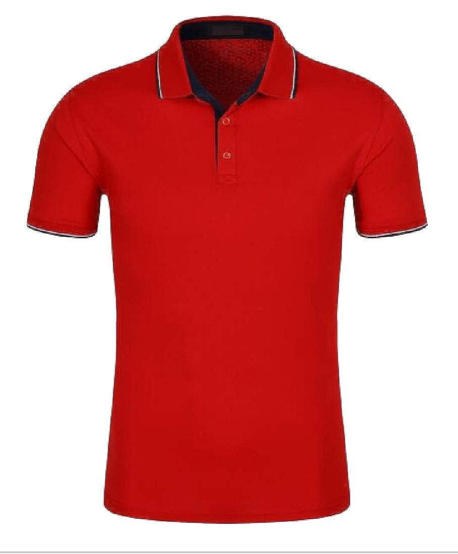Easonp Mens Regular Fit Walking Short Sleeve T-Shirt Work Lapel Polo Shirt
