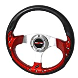 Rxmotor 320MM 6 Bolts JDM Horn Button Steering Wheel Universal Fit Not Include Hub Adapter (RED)