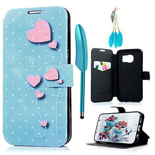 Samsung Galaxy S7 Case, Pink Love Heart Wallet Case Card ID Slots Soft PU Leather Fancy Pattern Kickstand Flip Case Protective Cover for Samsung Galaxy S7 by MOLLYCOOCLE