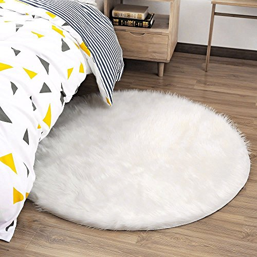 Ojia Deluxe Soft Modern Faux Sheepskin Shaggy Area Rugs Children Play Carpet for Living & Bedroom Sofa Round 4ft, Ivory White