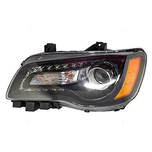 light Headlamp Lens with Black Bezel Replacement for Chrysler 68085417AF ()