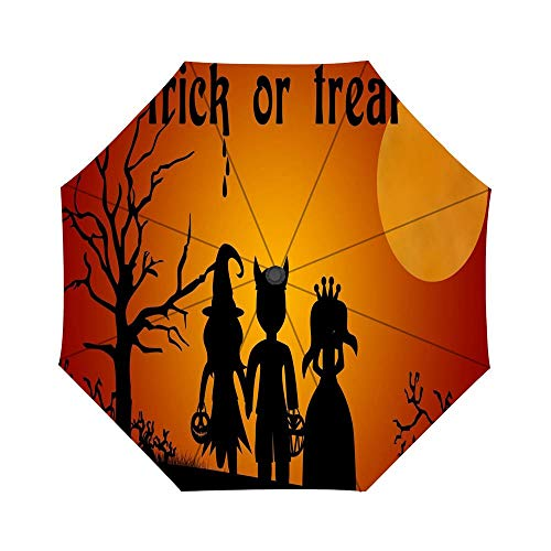 Folding Umbrella Halloween costumes for kids - Trick or treat on dark night Travel Umbrella Windproof Automatic Compact Rain Travel Umbrella,Lightweight,Auto Open/Close ()