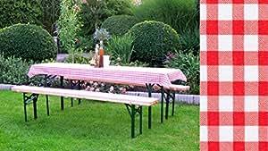 Juego de fundas para comedor de jardín (50 cm + 70 cm), diseño a cuadros, color rojo