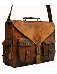 HLC ABB Vintage Handmade Leather Messenger Bag for Laptop Briefcase Satchel Bag 18 INCH