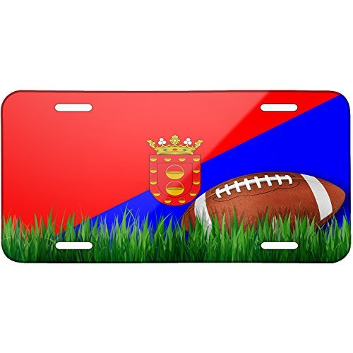 Football with Flag Lanzarote region Spain Metal License Plate 6X12 Inch by Saniwa