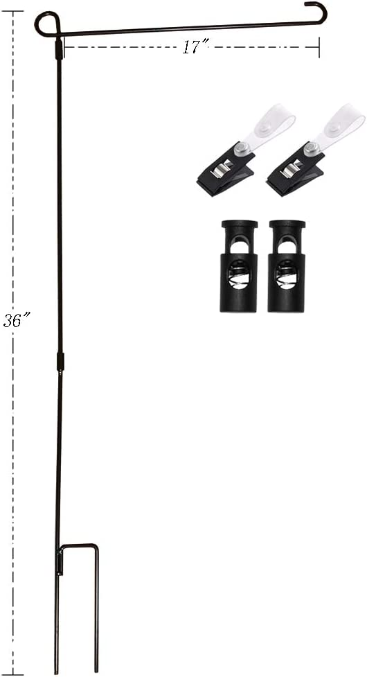 Yeeher Black Lab Garden Flag Stand Holder with Anti Wind Spring Stoppers and Clip, Ground Flag Pole Garden Iron Stand Holder for 12.5