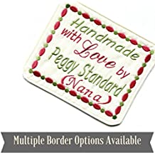 Embroidered Quilt Blocks, Personalized Sewing Labels for Handmade Items, One 4x5.5 Label, USA Made