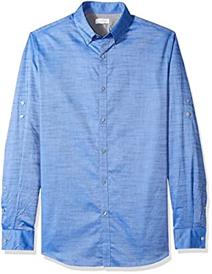 Calvin Klein Men's Long Sleeve Button Down Shirt Slub Stretch with Roll-Tab
