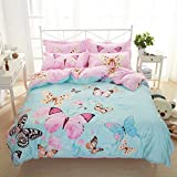 TheFit Paisley Textile Bedding for Adult U385 Garden Butterfly Duvet Cover Set 100% Cotton, Queen King Set, 4 Pieces (Queen)