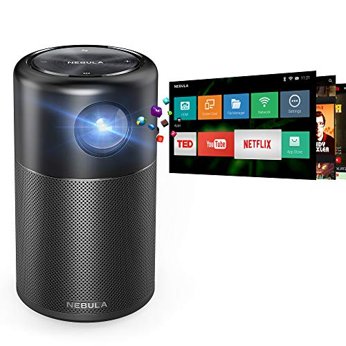 Nebula Capsule Smart Mini Projector, by Anker, Portable 100 ANSI lm High-Contrast Pocket Cinema with Wi-Fi, DLP, 360° Speaker, 100 picture, Android 7.1, 4-Hour Video Playtime, and App