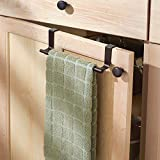 "mDesign Adjustable, Expandable Kitchen Over Cabinet Towel Bar Rack - Hang on Inside or Outside of Doors, Storage for Hand, Dish, Tea Towels - 9.25"" to 17"" Wide"