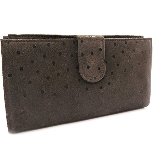 Wallet + checkbook holder leather 'Frandi' brown (peas). by Frandi