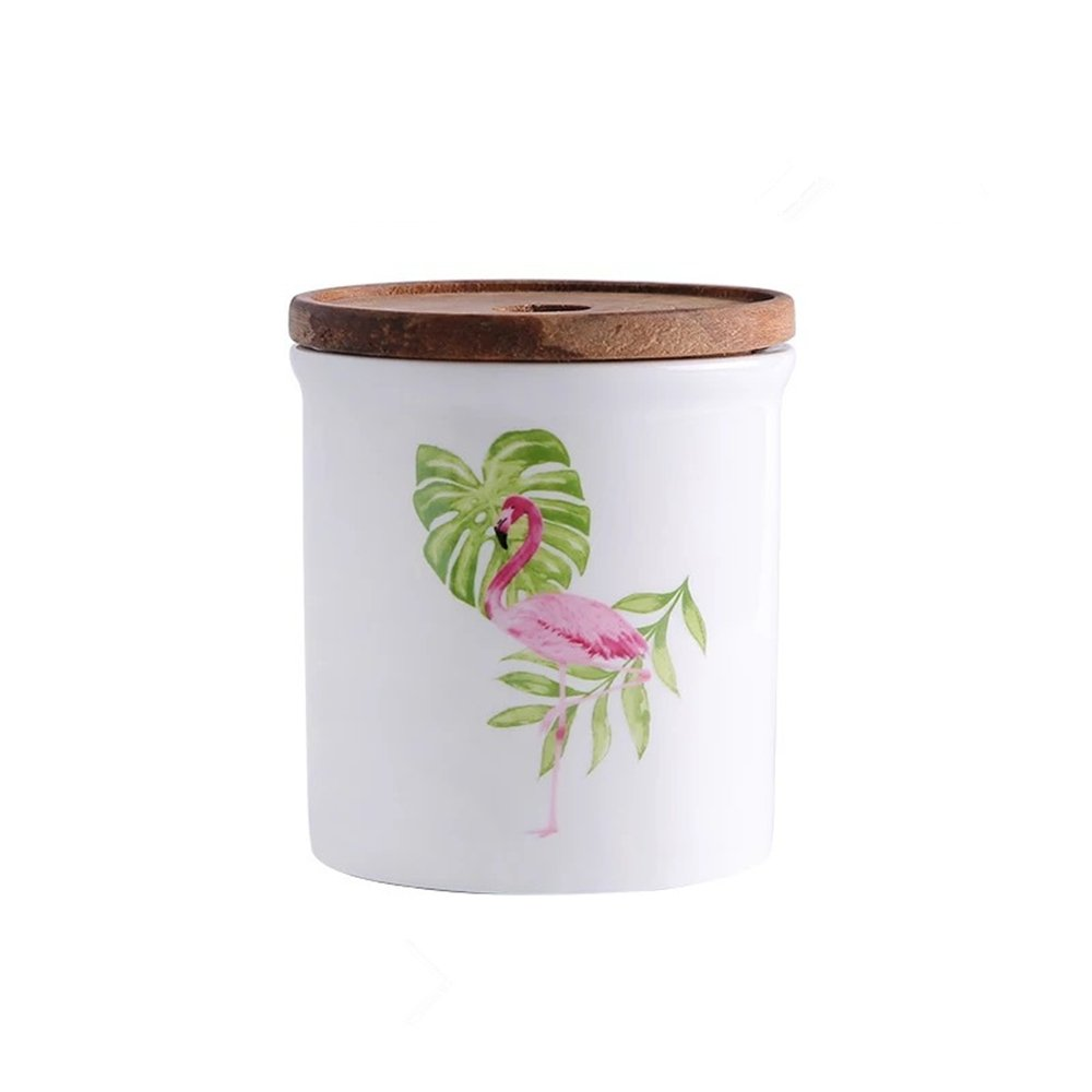 One-Pine Ceramic Canisters Food Storage Jar with Wooden Airtight Sealed Lid, 480ml / 16oz Food Storage Container for Tea Sugar Coffee Bean Spices Nuts Grain Flour Flamingo