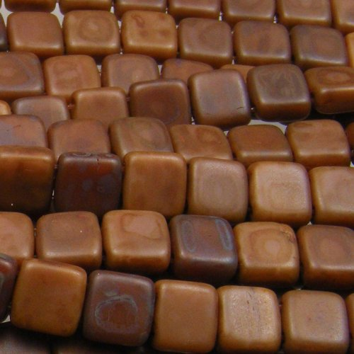Czechmate 6mm Square Glass Czech Two Hole Tile Bead - Brown Caramel (Picasso Square)