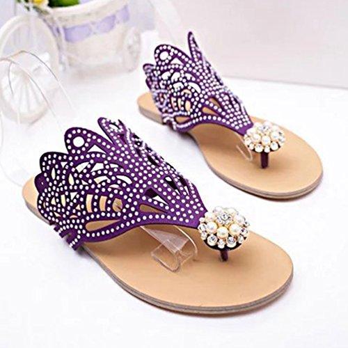 Élégant Pantoufles Femme Plage Pantoufle l'été Violet Kairuun Rome de de Chaussons Chaussures Strass qdAtExw