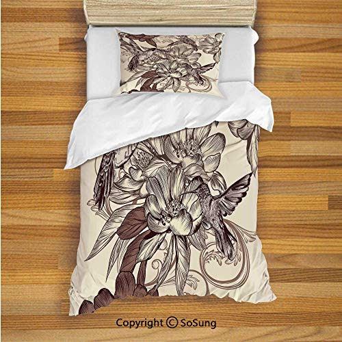 Classic Print Bolster - Hummingbirds Decor Kids Duvet Cover Set Twin Size, Pattern with Birds and Flowers Classic Style Ornamental Design Floral Print Decorative 2 Piece Bedding Set with 1 Pillow Sham,