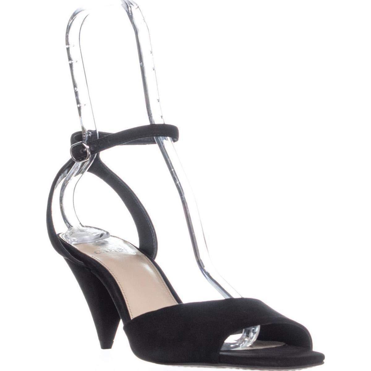 Black Vince Camuto Womens Benatta Nubuck Ankle Strap Dress Sandals