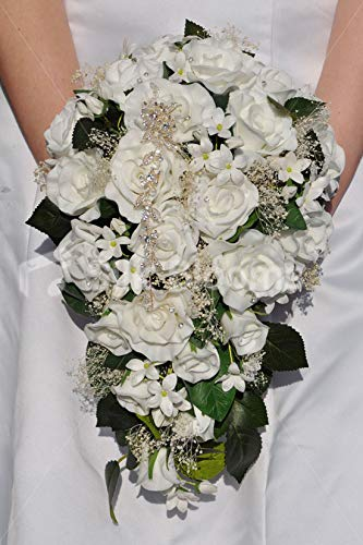Silk Blooms Ltd Artificial White Rose, Gypsophila and Stephanotis Bridal Bouquet w/White Satin Ribbons and Crystal Pins