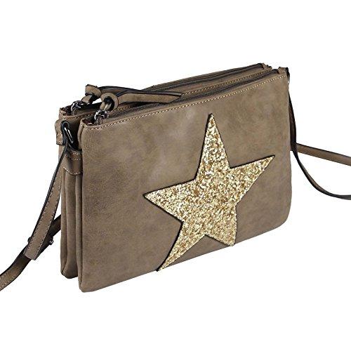 Estrella Bolsa De La Lona Bolsa Bandolera De Dama Bolsa De Joyas Embrague Bolsa De Tela Cuero Estrella - Gris topo 2xFach (Strass Estrella) Gris topo 2xFach (Strass Estrella)