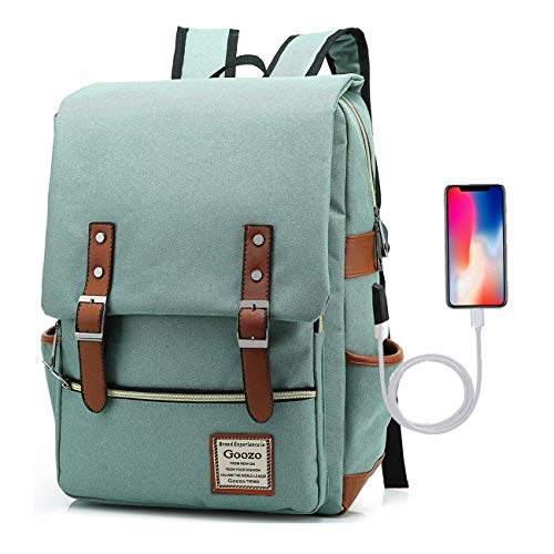 Adual Casual Laptop Backpack with USB Charging Port, Water Resistant travelling Backpack College Daypacks School Outdoor Sports Rucksack for Women Men, Fits up to 15.6 Inch Notebook, Green