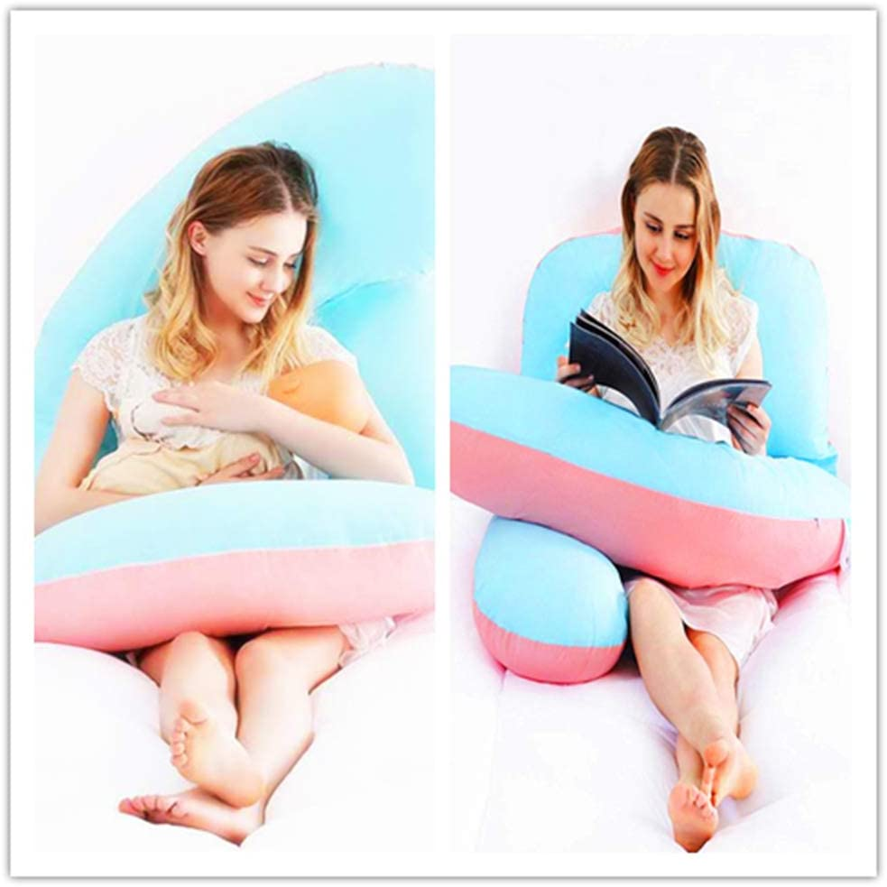 Tomybaby Full Body Adjustable Pregnancy Pillow-55Inch G Shaped Maternity Pillow-Belly Position Gentle Slope Support Pillow Detachable Cotton Cover Nursing Pillows Blue