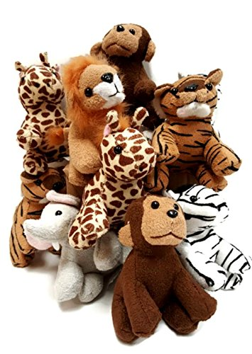 Playscene Suede Jungle / Zoo Animals, Assorted Suede Plush Jungle Animals (12 Piece Set) ()