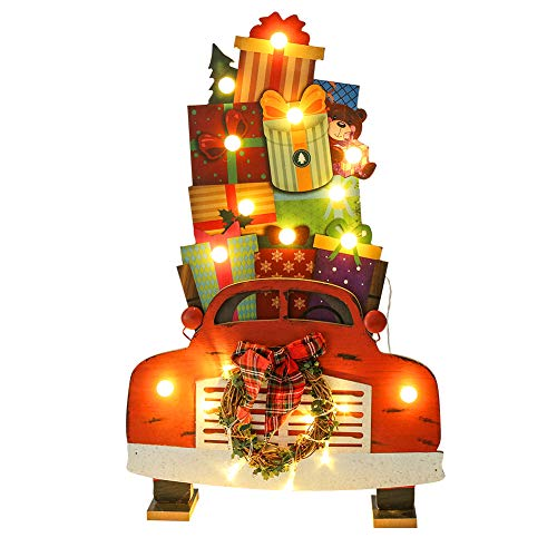 Juegoal Car Shape Christmas Wooden Decorations with 22 LED Lights Battery Operated for Xmas Holiday Party Home Ornaments -