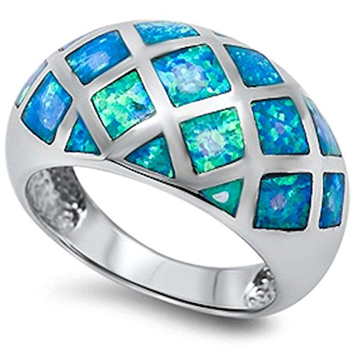 Blue Fire Opal Fashion .925 Sterling Silver Ring Sizes 5-10