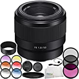 Sony FE 50mm f/1.8 Lens 9PC Accessory Bundle – Includes Manufacturer Accessories + 3PC Filter Kit (UV + CPL + FLD) + 6PC Graduated Filter Kit + MORE