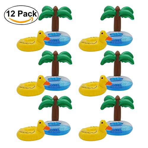 Antelope shop 12 Pack Yellow Duck and Palm Tree Inflatable Float Pool Party Drink Holder - Inflatable Coaster - Swimming Floatation Toy-Pool Floats