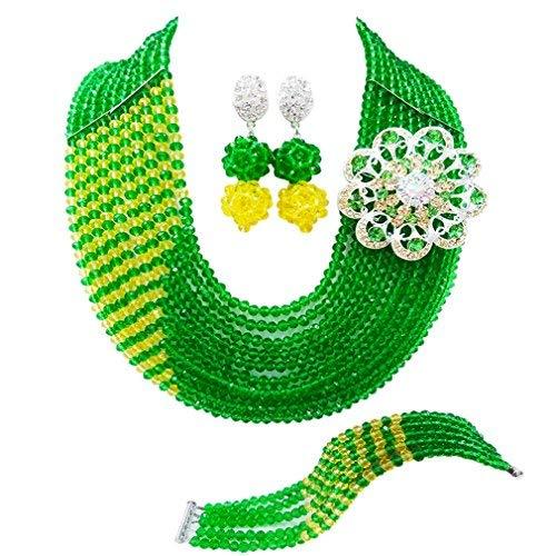 0aab1b543690 laanc partes de las mujeres regalos 10 filas verde y amarillo cristal boda  nigeriano cuentas africanos joyería conjuntos a00070  Amazon.es  Joyería