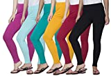 Clifton Women's Cotton Spandex Fine Jersey Leggings Pack Of 6-Assorted-5-5XL