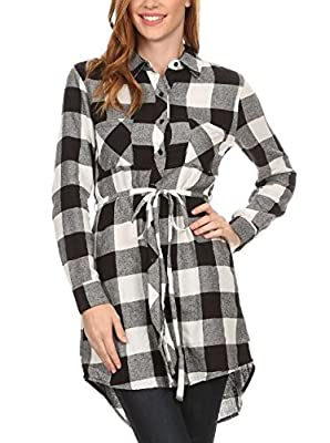 Long Sleeve Plaid Cotton Flannel Button Down Belted Tunic Shirt Dress