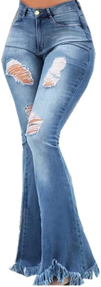 EnergyWD Women High Rise Tassel Pants Comfy Flared-legs Ripped Boot-Cut Jeans
