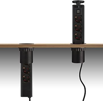 dazone 3 regleta regleta enchufe enchufe mesa con 2 x USB, Marrón ...
