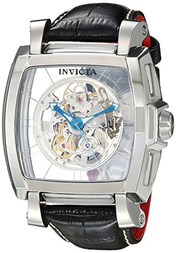 Invicta Men's 'Reserve' Automatic Stainless Steel and Leather Casual Watch, Color:Black (Model: 22834)