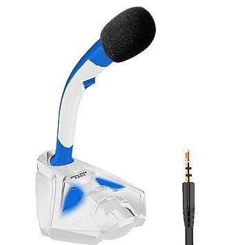 OWIKAR - Micrófono LED para videojuegos, soporte de micrófono de escritorio con clavija estéreo de
