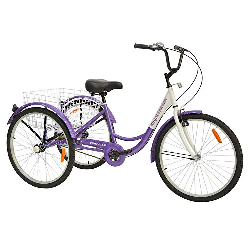 3 Wheeled Cruiser - Royal London Adult Tricycle 3 Wheeled Trike Bicycle w/Wire Shopping Basket Purple