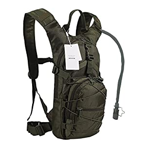 Seamand Hydration Backpack with 3L Water Bladder for Hiking and Climbing (Army Green)