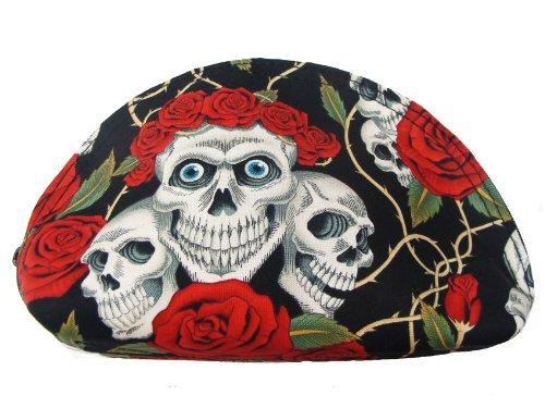 US Handmade Fashion SKULLS RED ROSES TATTOO HOLLOWEEN PATTERN US Handmade COSMETIC BAG CLUTCH BAG Handbag Purse ALEXANDER HENRY COTTON Fabric, BCB (Holloween Usa)