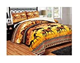 Biggest King Size Comforter All American Collection New Super Soft and Warm 3 Piece Brown Horse Design Borrego/Sherpa Blanket Palazzo (Queen/King)