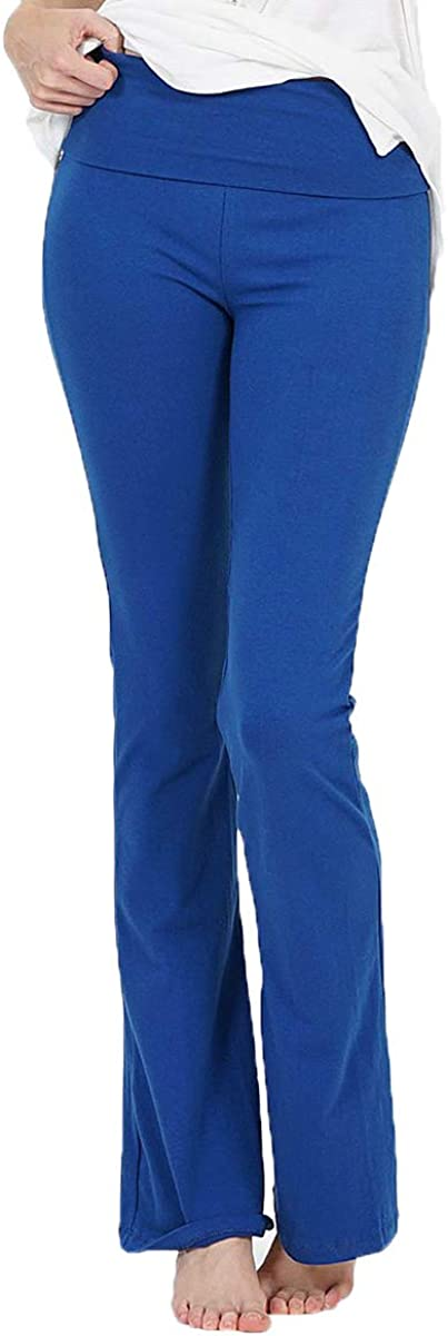 JNTOP Womens Cotton Fold Over Yoga Bootleg Flare Active Pants