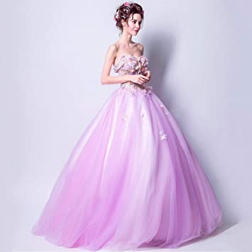 YT-RE Vestido de Fiesta Rosa Color con Cuentas Vestido de Longitud Tridimensional sin Mangas