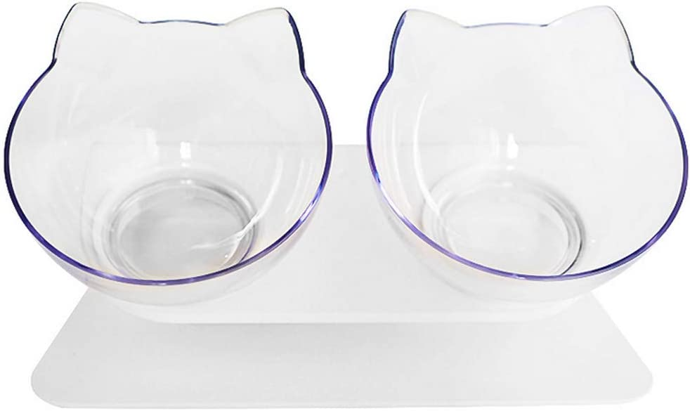 ikjuh Double Cat Dog Bowls Elevated Cat Food Water Bowls with Raised Stand 15° Tilted Raised Pet Feeder Bowl for Cats and Small Dogs