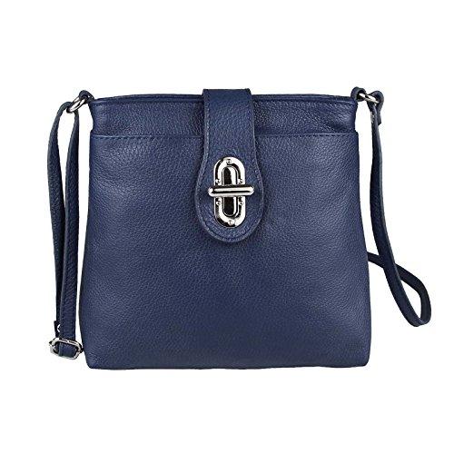 Made Italy - Bolso cruzados de cuero para mujer 23x20x8 cm (BxHxT) Azul Oscuro/Azul Marino