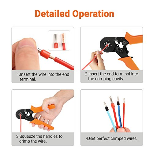 Ratchet Wire Crimping Tool, Self-adjustable Square Ferrule Crimper Crimping Pliers for 0.25-10mm² Wire Terminals (New Packaging) by Z ZANMAX (Image #4)