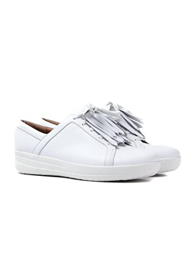 7e8db172937ea8 Fitflop Women s F-Sporty II Lace Up Fringe Sneaker - White Leather ...