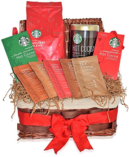 Starbucks Christmas Holiday Blend Coffee and Hot Cocoa Gift Basket - 7 Different Hot Cocoa Flavors - Classic, Peppermint, Double Chocolate, Marshmallow, Vanilla Brulee, Cinnamon Dolce, Salted Caramel