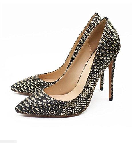 Ruanlei@Sexy de Tacones Altos/Clásicas Tacones Altos/fashion - Cerrado Mujer/Tacones de Charol ElegantesElegante y versátil de alta minimalista Heel Shoes mujer black gold